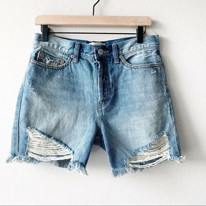 Free People High Rise Button Fly Destructed Short